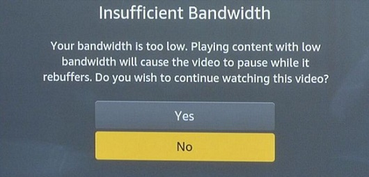 Amazon Video Insufficient Bandwidth Message