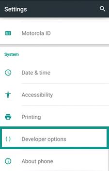 Choose Developer Option on Android Phone