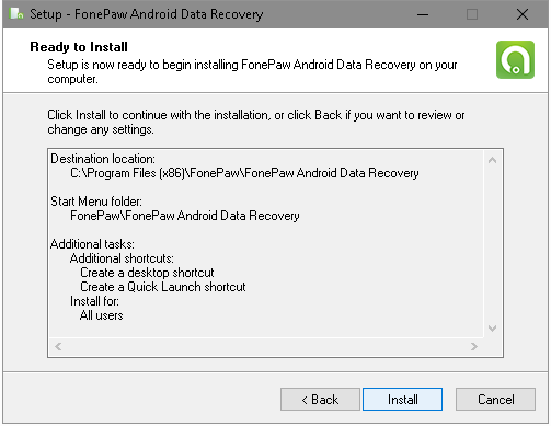 Install FonePaw Android Data Recovery on Computer