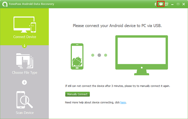 Select Feedback on FonePaw Android Data Recovery