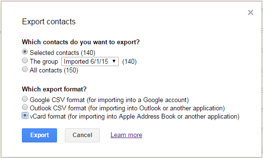 Choose Exported Contacts Format