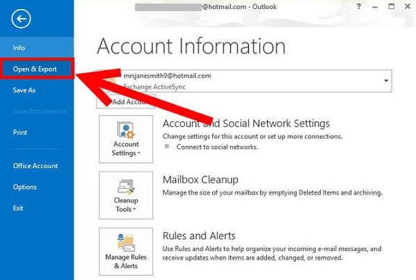 Open Outlook and Select Contacts to Export