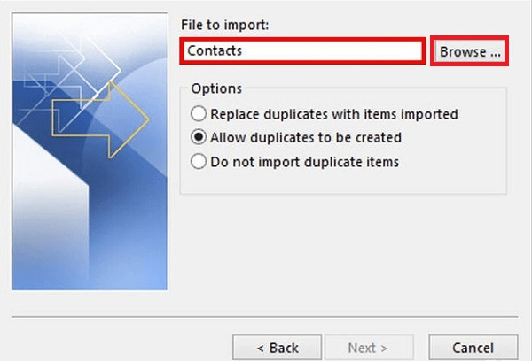 Select Contacts and the Location to Export