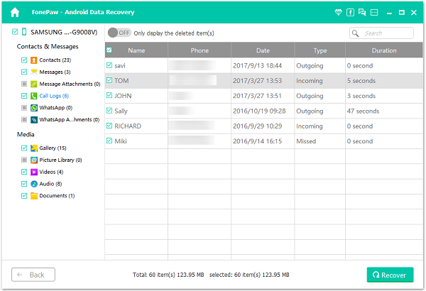 Recover Deleted Call Logs from Android