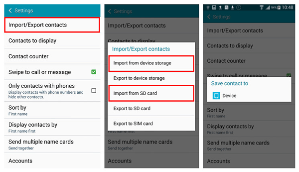 Save Contacts to Android Device
