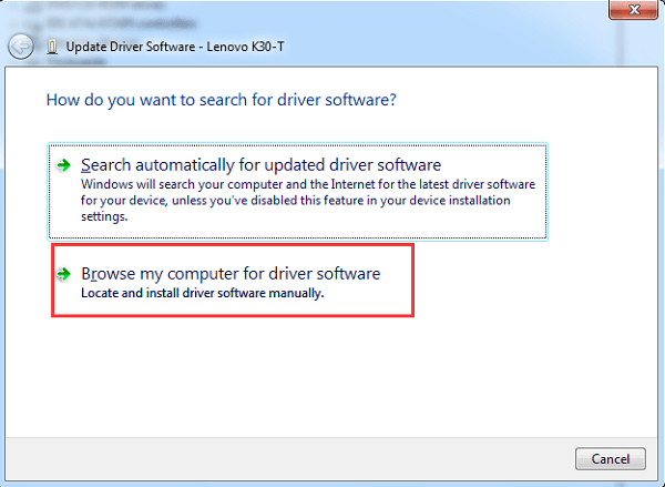 Choose to Browse USB Driver from Computer