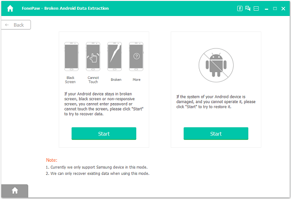 Broken Android Data Extraction Main Page
