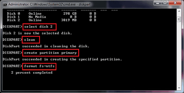 Format SD Card with CMD