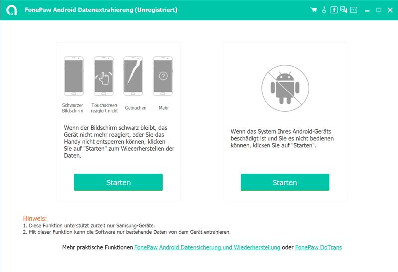 FonePaw Android Datenextrahierung starten
