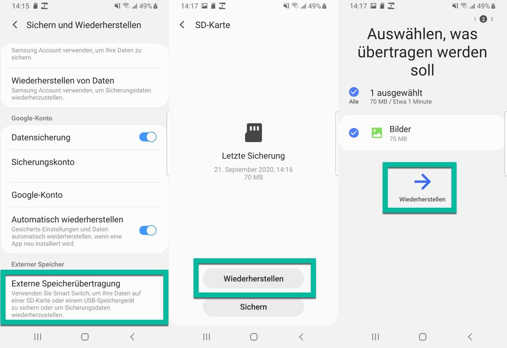 SD Karte Bilder wiederherstellen Android