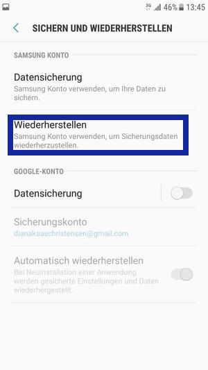 Daten wiederherstellen von Samsung mit Samsung Konto