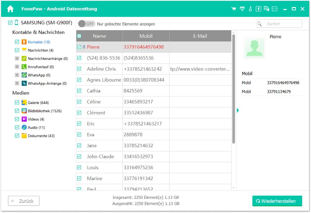 Samsung gelöschte Kontakte wiederherstellen