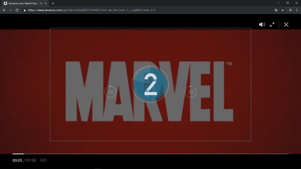 Countdown vor der Aufnahme Amazon Video