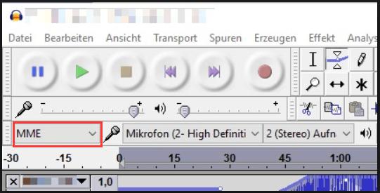 Audio-Host auf MME einstellen
