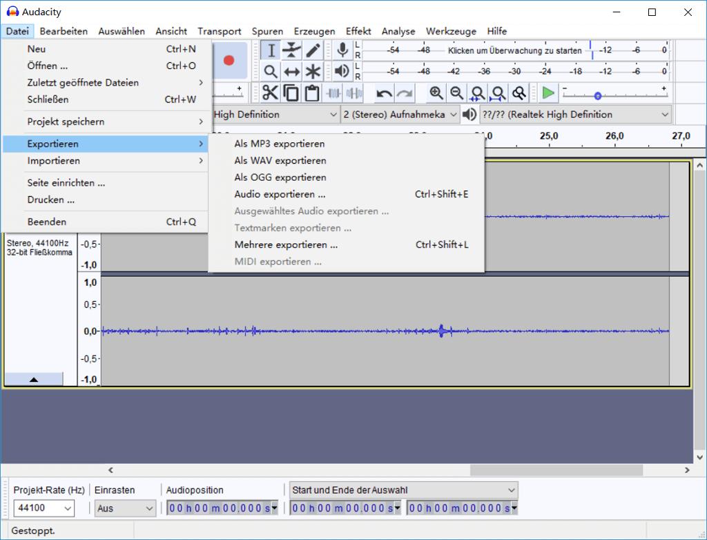 Audio exportieren Audacity