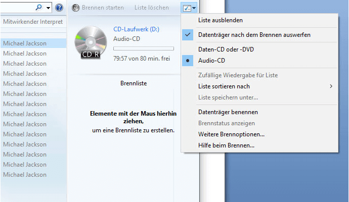 Optionen fürs CD-Brennen