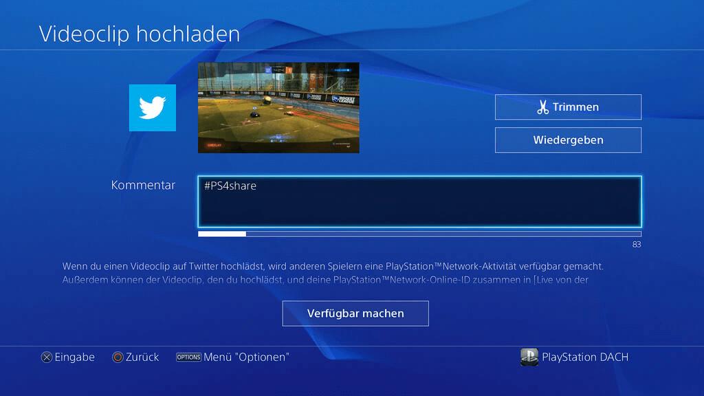 PS4-Aufnahmevideo hochladen