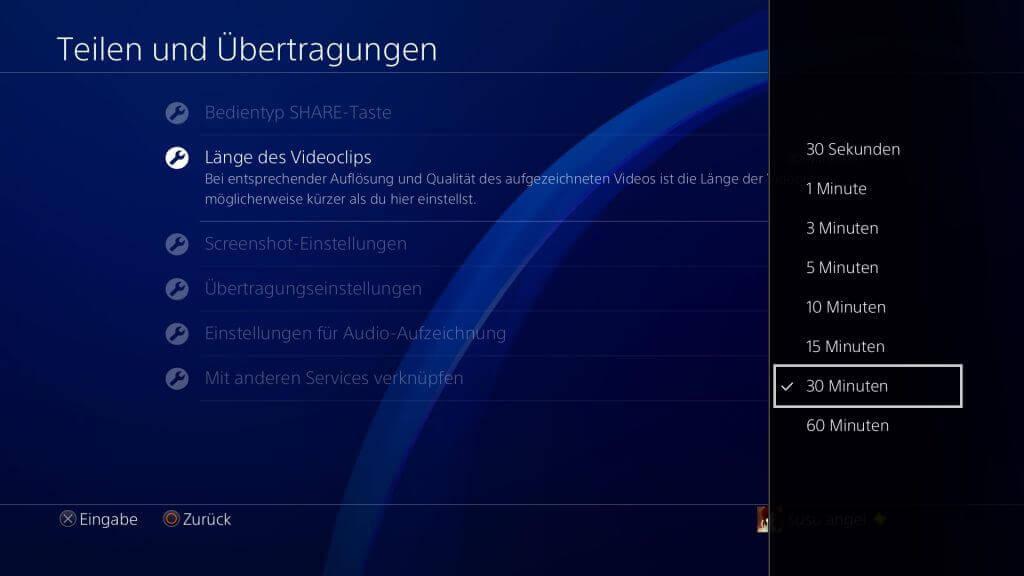 Aufnahme-Länge des PS4-Videos voreinstellen