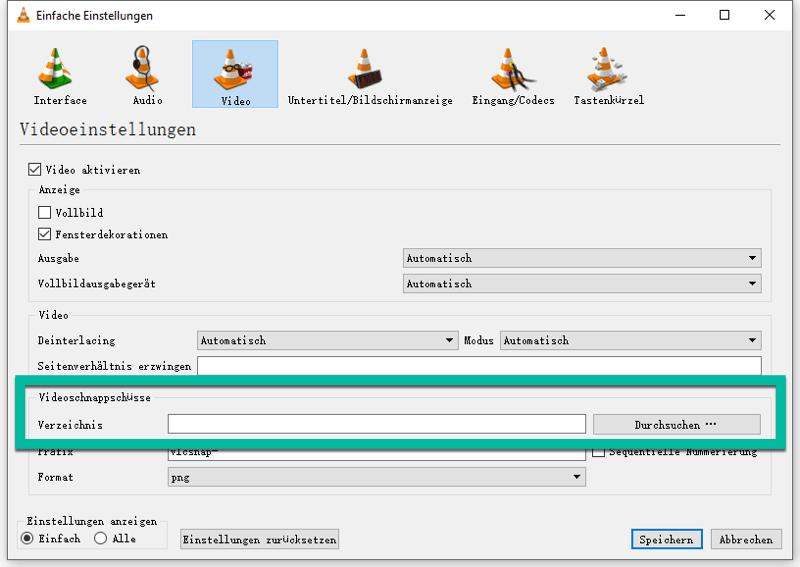 VLC Schnappschuss Speicherort ändern