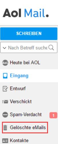AOL Mail gelöschte eMails finden