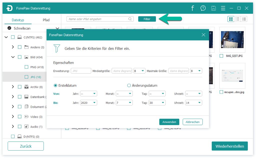 Datei suchen und filtern