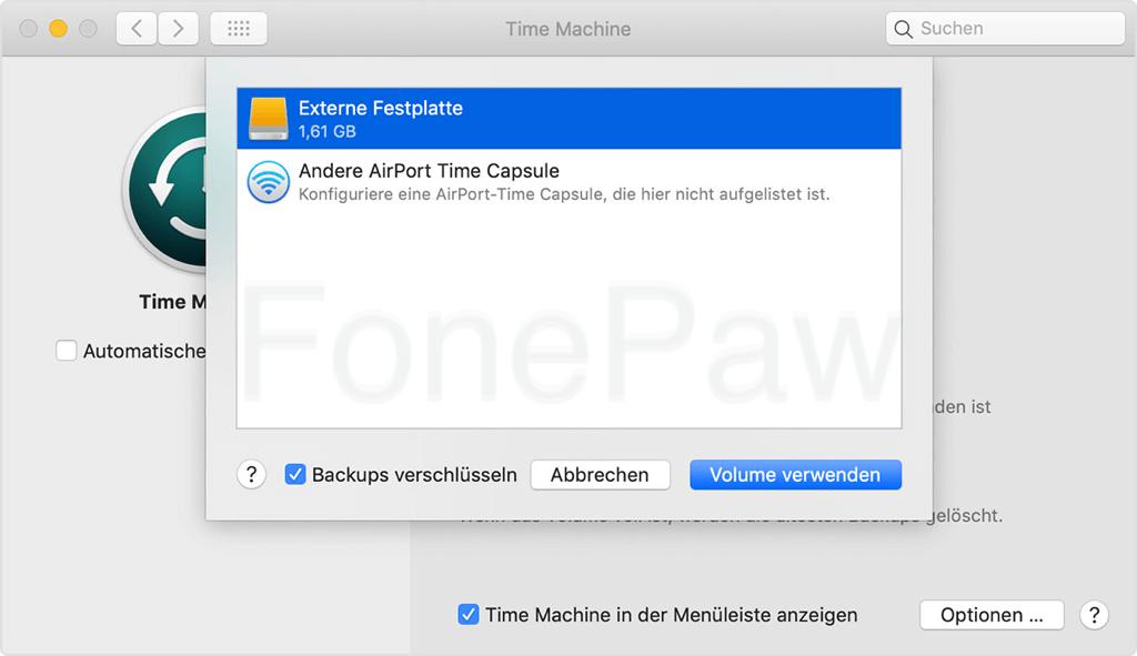 Externe Festplatte aus Backup Volumen auswählen