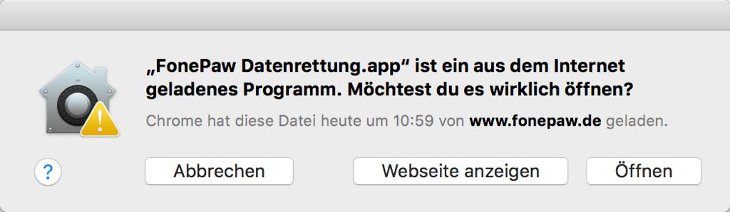 FonePaw Datenrettung öffnen auf Mac