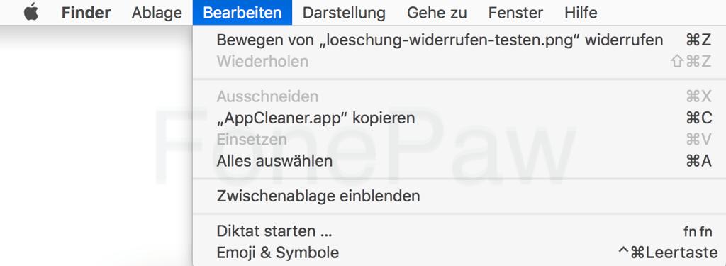 Mac Löschung der Datei widerrufen