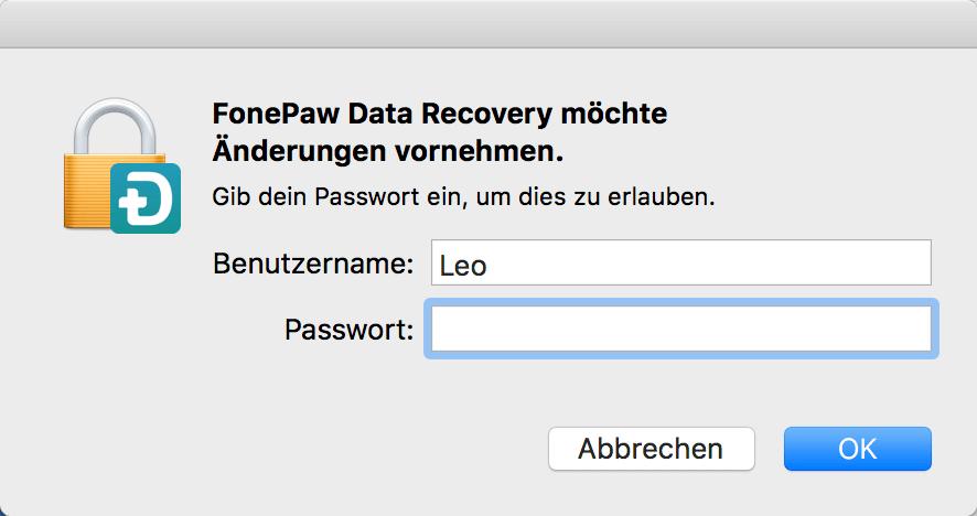 FonePaw Datenrettung öffnen Mac Passwort eingeben
