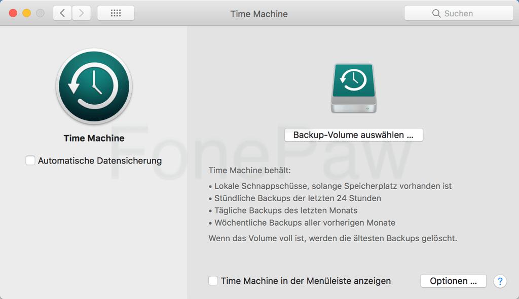 Mac Time Machine Backup konfigurieren