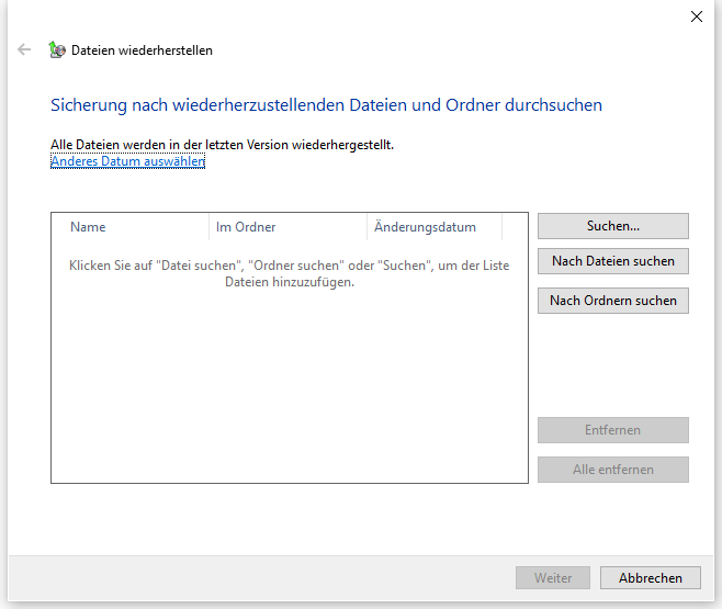 Sicherung nach wiederherzustellenden Dateien und Ordner durchsuchen