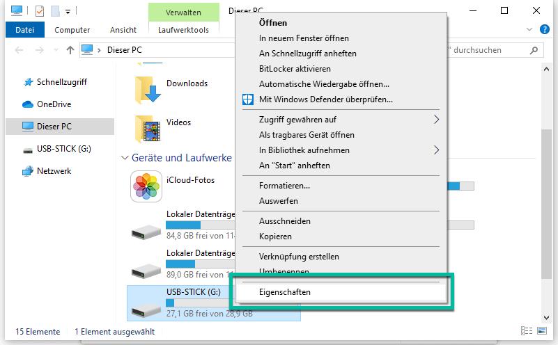 USB-Eingenschaften
