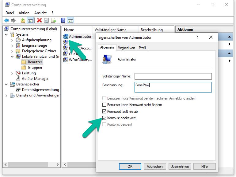 Windows 10 Administrator-Account aktivieren