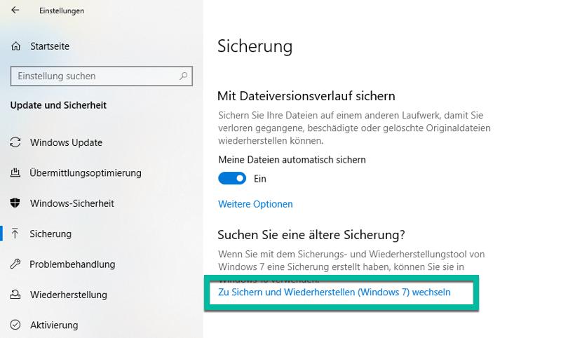 Ältere Sicherung von Windows 10 suchen