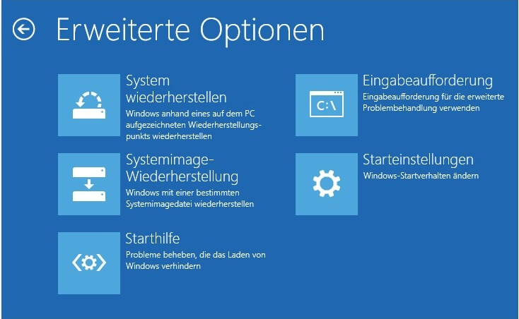 Erweitere Optionen Windows 10