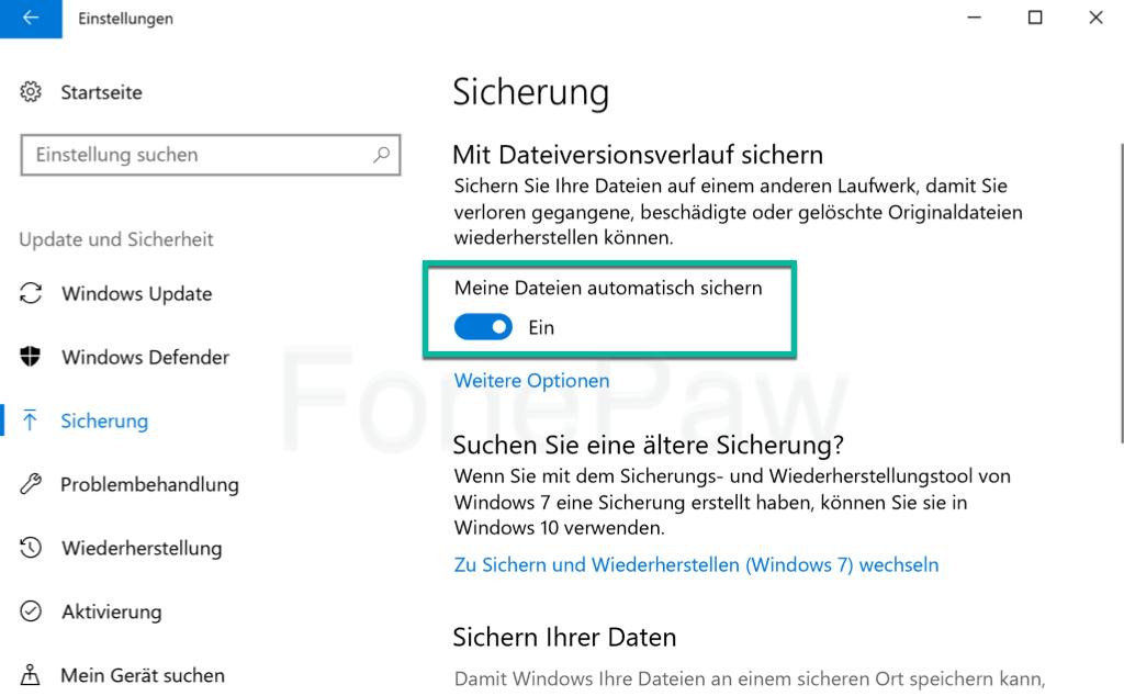 Windows Meine Dateien automatisch sichern