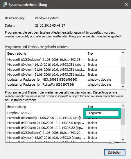 Programme wiederherstellen von Windows Systemwiederherstellung