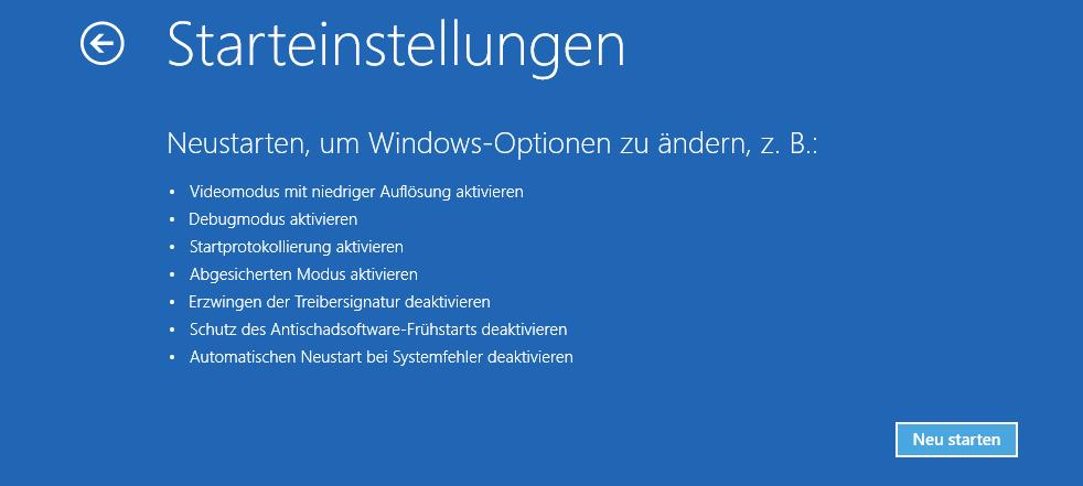 Starteinstellungen Windows 10