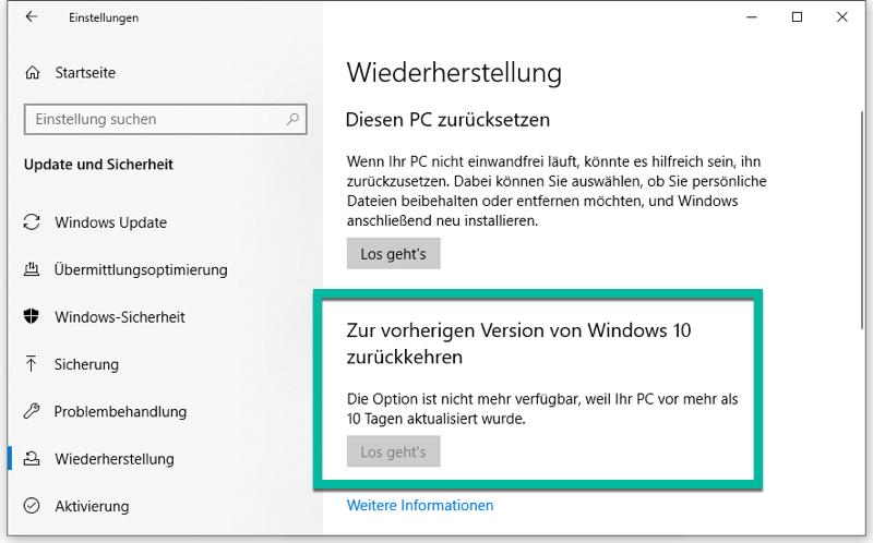 Zur vorherigen Version von Windows 10 zurückkehren