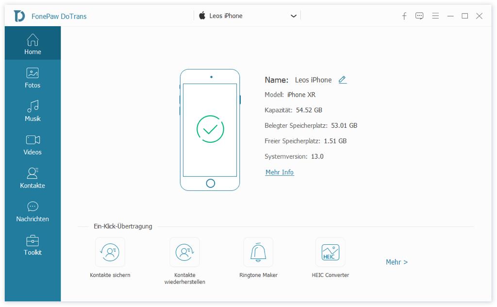 DoTrans starten und iPhone damit verbinden