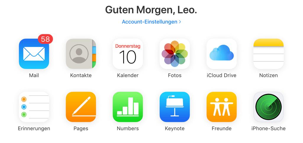 iPhone Erinnerungen in iCloud.com