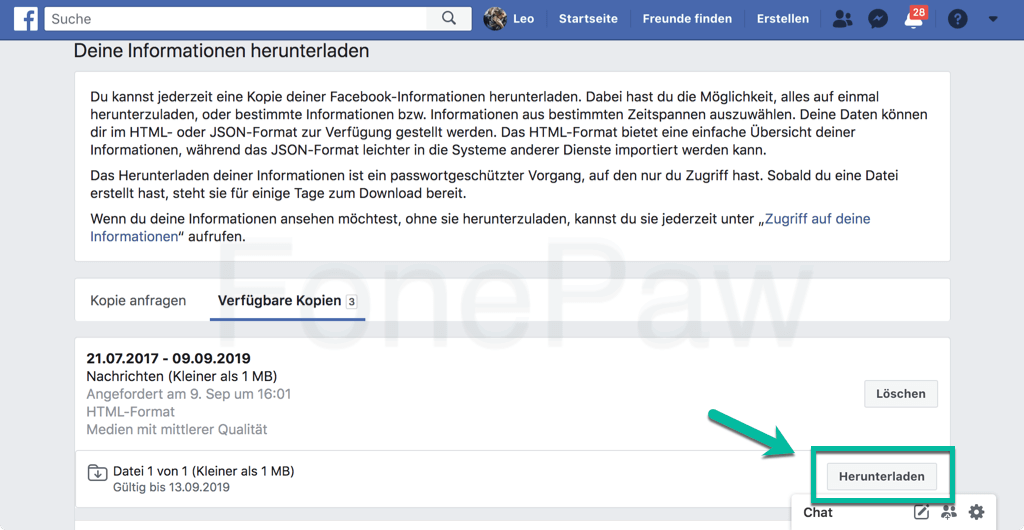 Facebook Nachrichten herunterladen