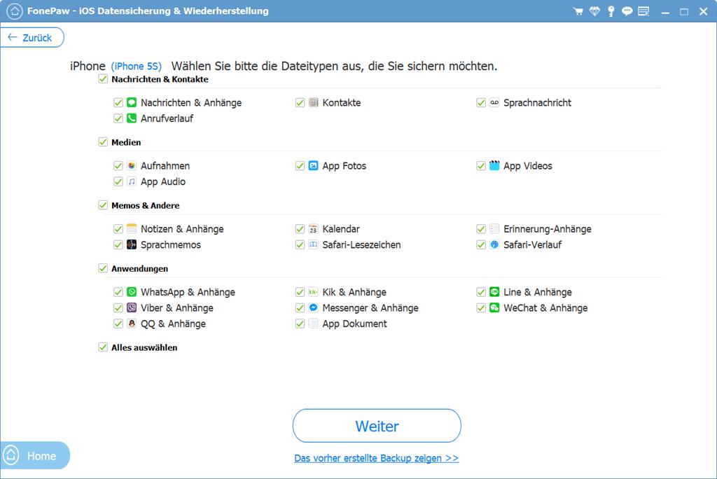 Dateitypen wählen