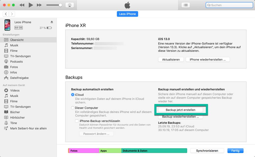 iPhone Backup erstellen iTunes