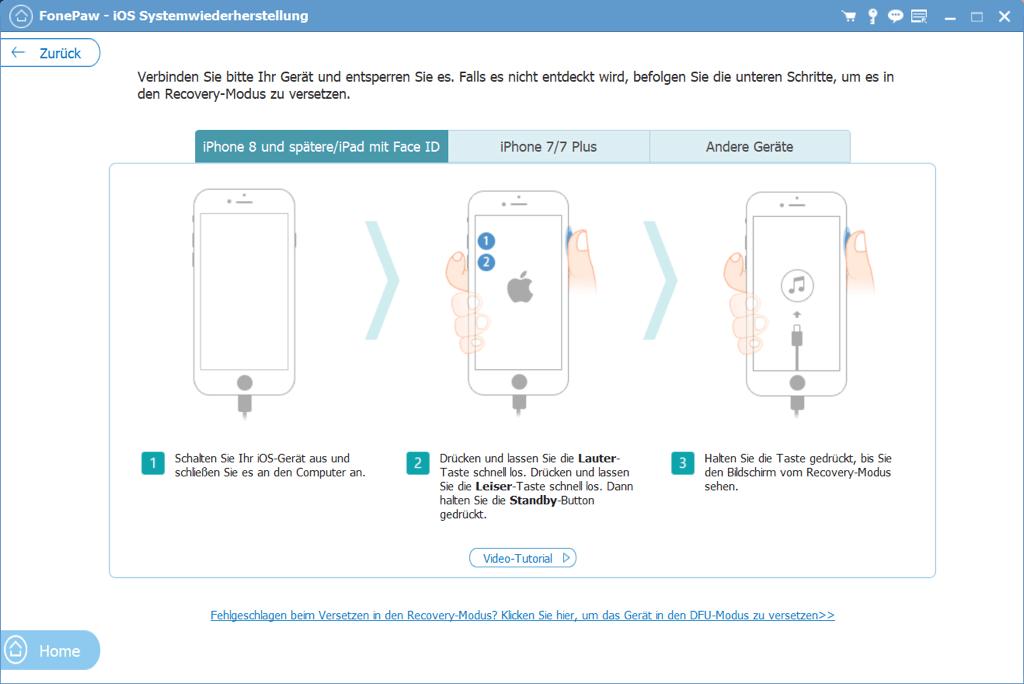 iPhone in Wiederherstellungsmodus versetzen