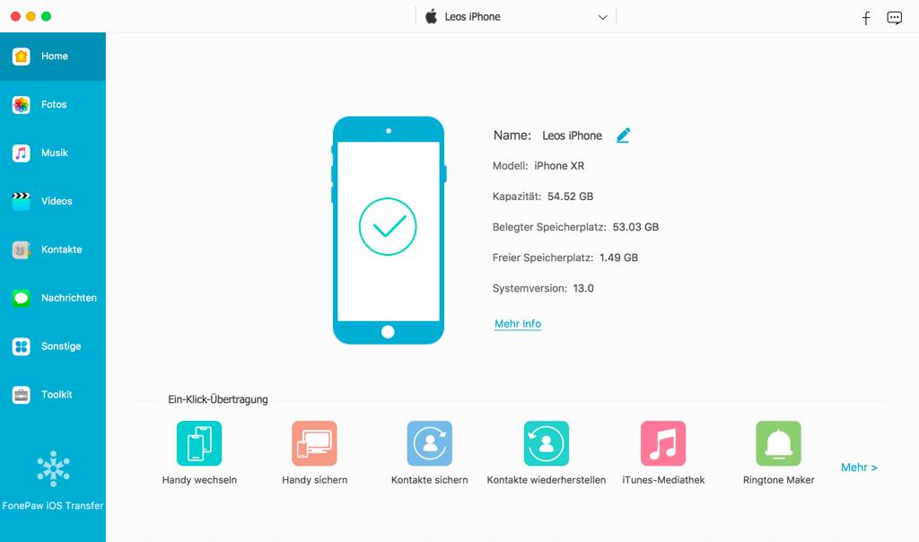 iOS Transfer starten und mit iPhone verbinden