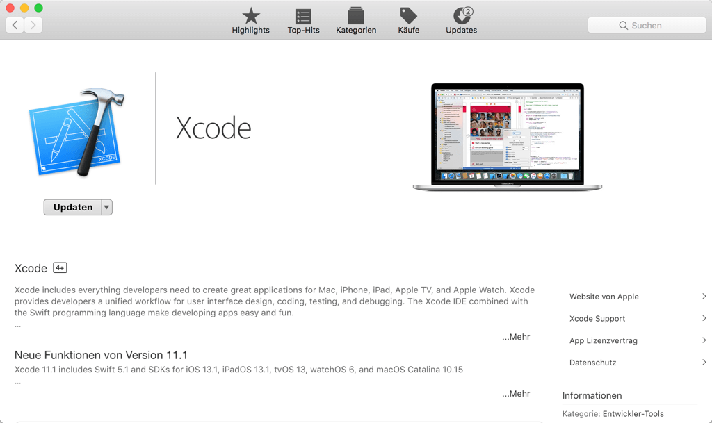 Xcode installieren auf Mac