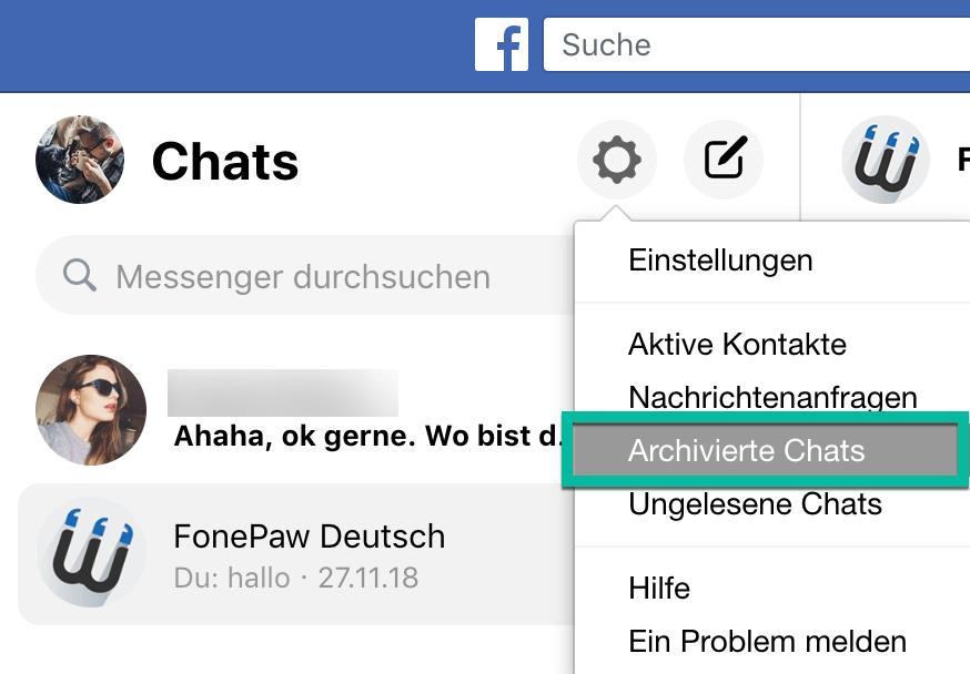 Facebook Messenger archivierte Nachrichten wiederherstellen
