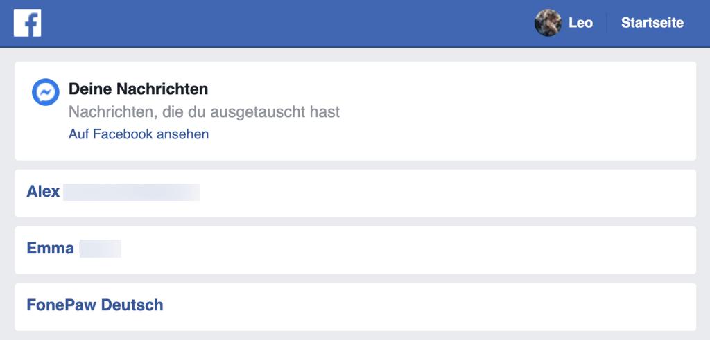 Facebook Messenger gelöschte Nachrichten wiederherstellen