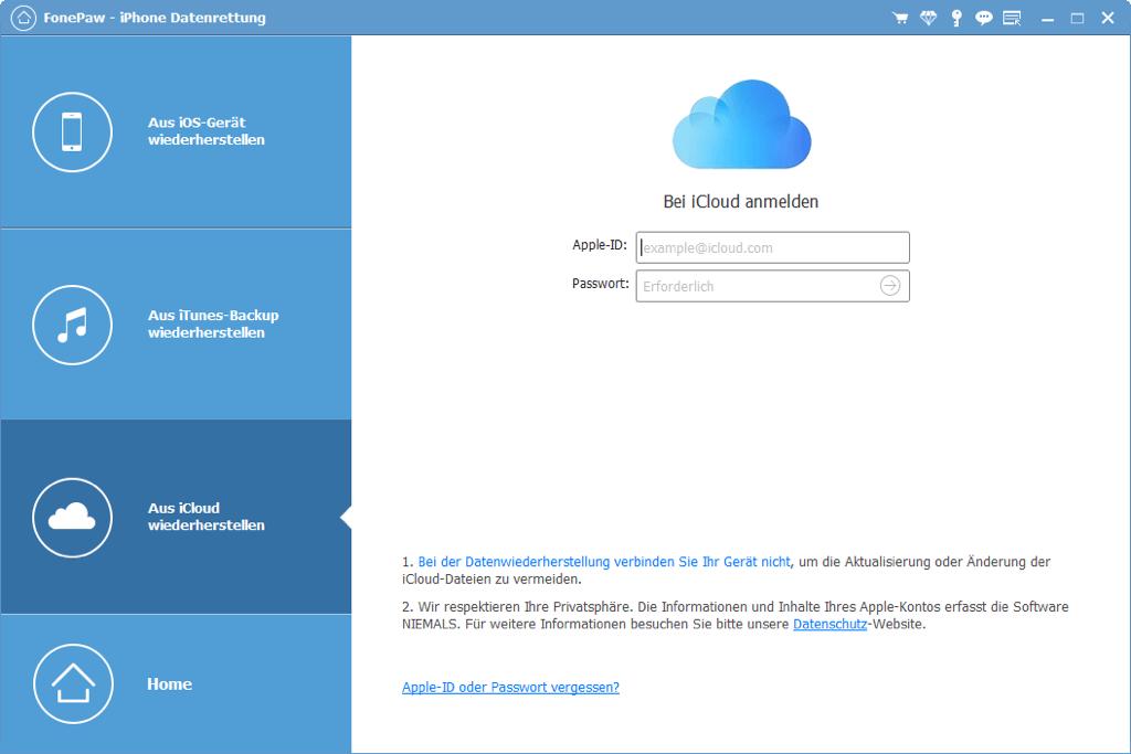 Sich bei iCloud anmelden